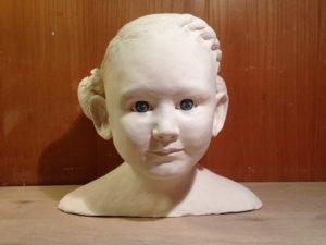 Kopf in Originalgrösse modelliert aus Ton, ch-keramik.ch